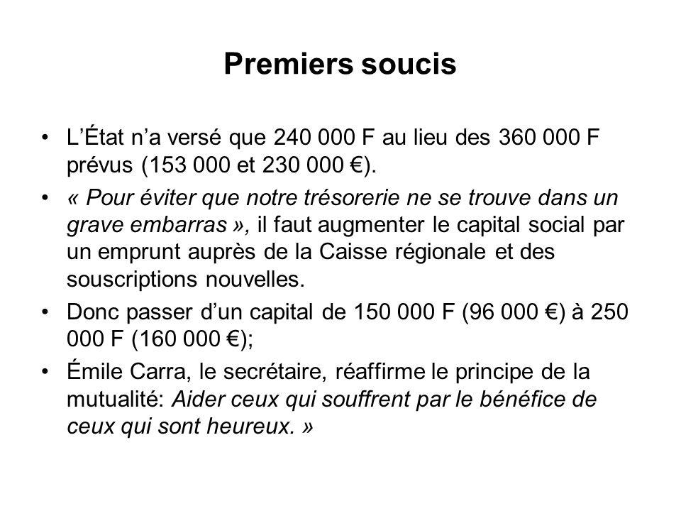 Premiers soucis L'État n'a versé que 240 000 F au lieu des 360 000 F prévus (153 000 et 230 000 €).