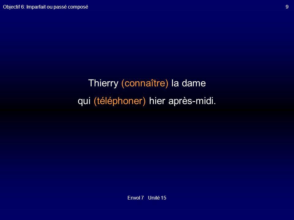 Thierry (connaître) la dame qui (téléphoner) hier après-midi.