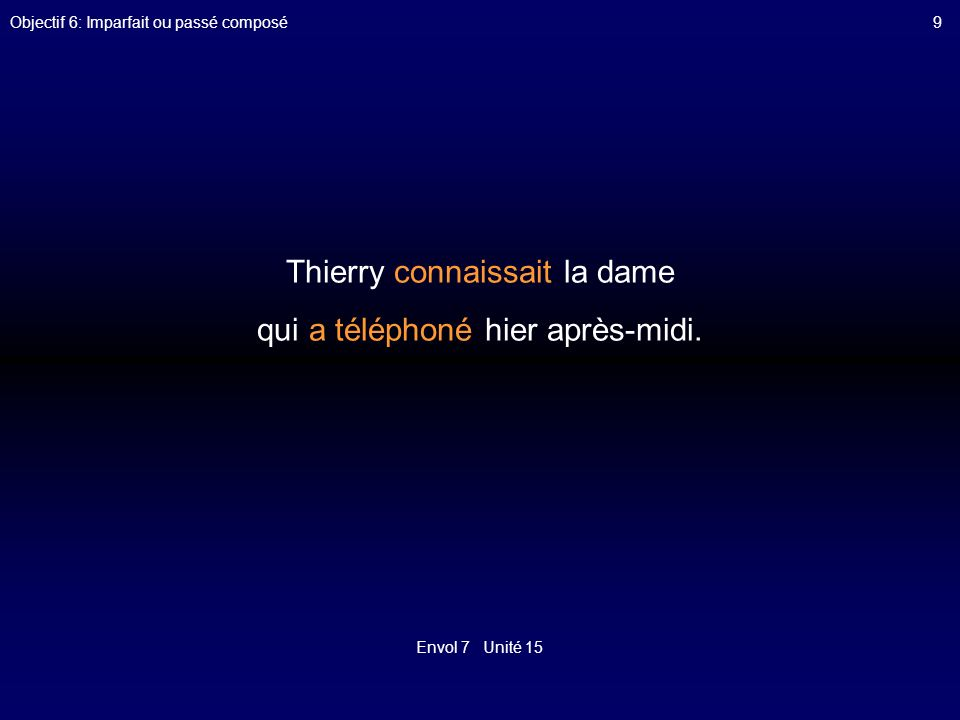Thierry connaissait la dame qui a téléphoné hier après-midi.