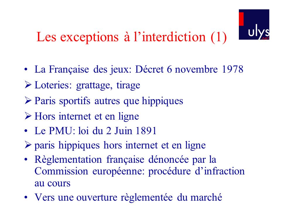 Les exceptions à l'interdiction (1)
