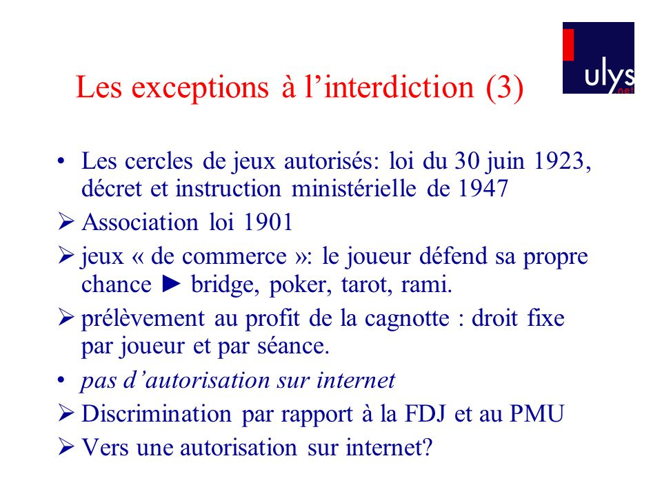 Les exceptions à l'interdiction (3)