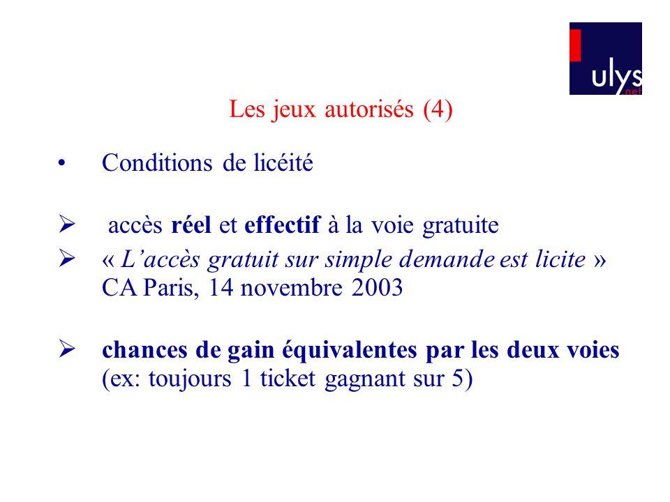 Les jeux autorisés (4) Conditions de licéité. accès réel et effectif à la voie gratuite.