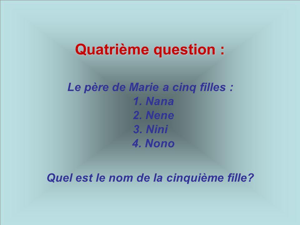 Quatrième question : Le père de Marie a cinq filles : 1.