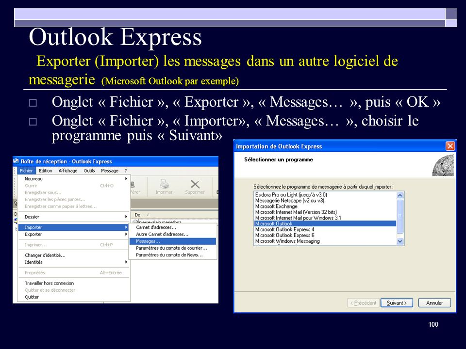 Outlook Express Exporter (Importer) les messages dans un autre logiciel de messagerie (Microsoft Outlook par exemple)
