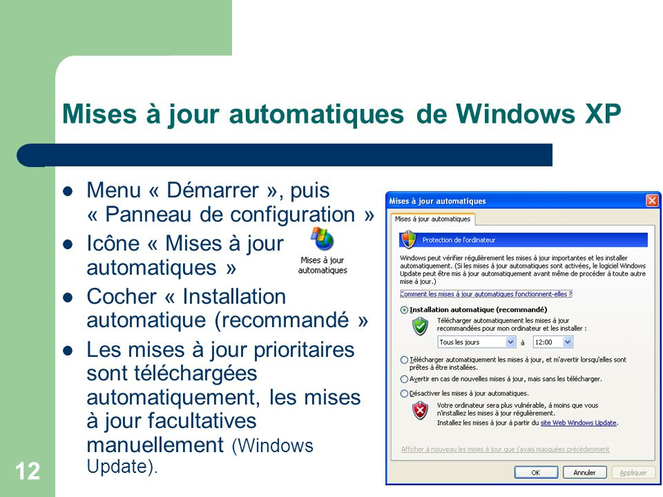 Mises à jour automatiques de Windows XP