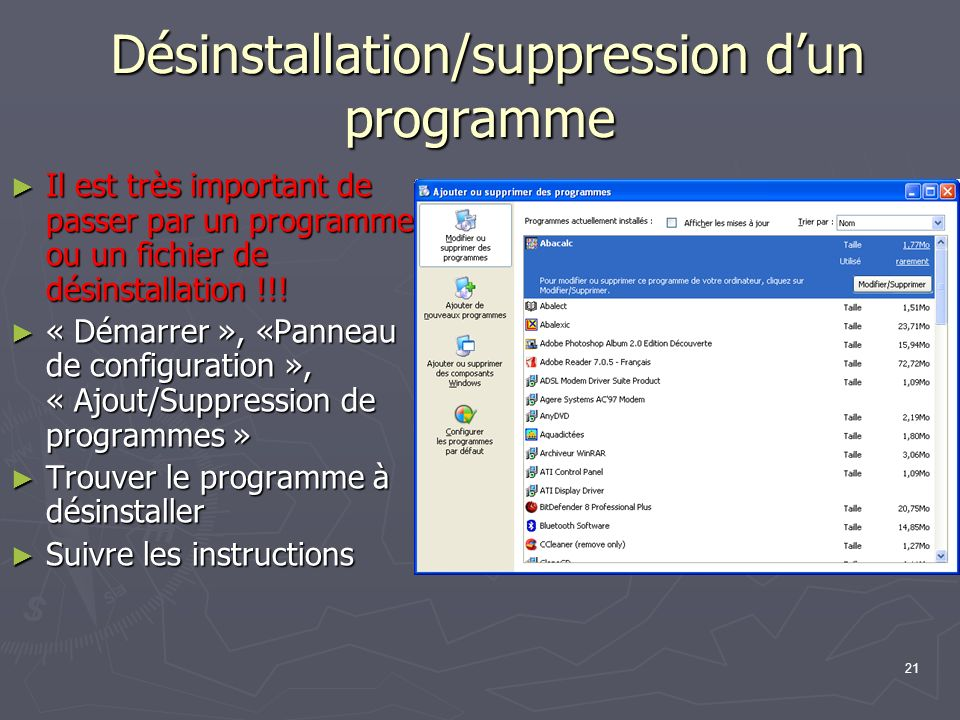 Désinstallation/suppression d'un programme