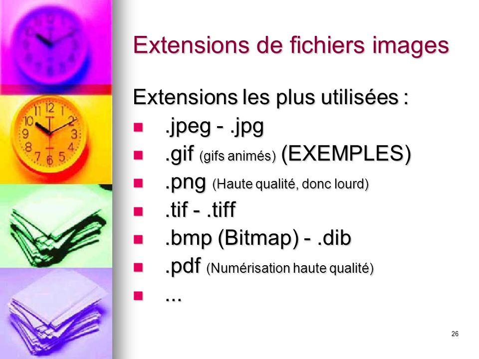 Extensions de fichiers images