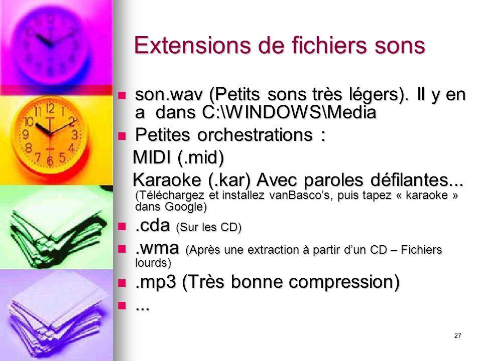 Extensions de fichiers sons