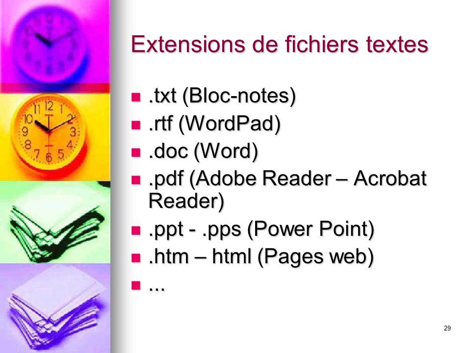 Extensions de fichiers textes