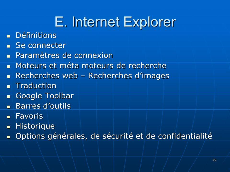 E. Internet Explorer Définitions Se connecter Paramètres de connexion