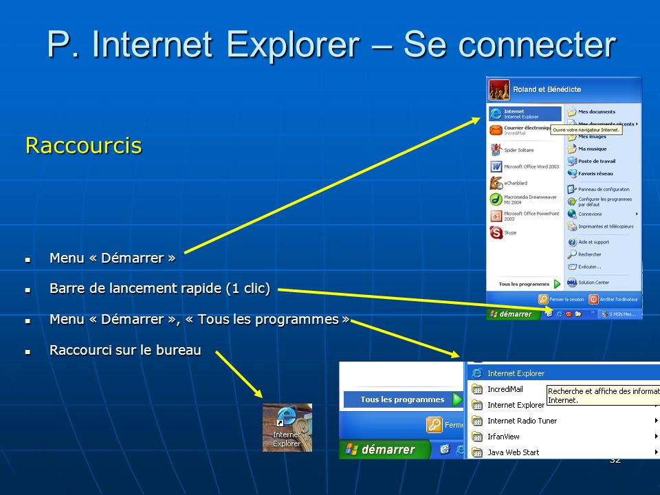 P. Internet Explorer – Se connecter