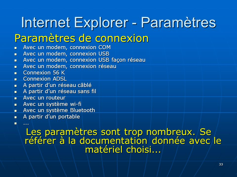 Internet Explorer - Paramètres