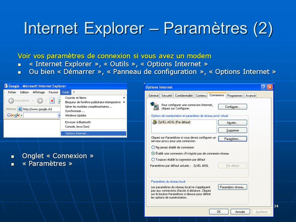 Internet Explorer – Paramètres (2)