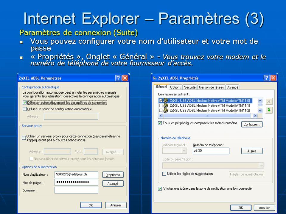 Internet Explorer – Paramètres (3)