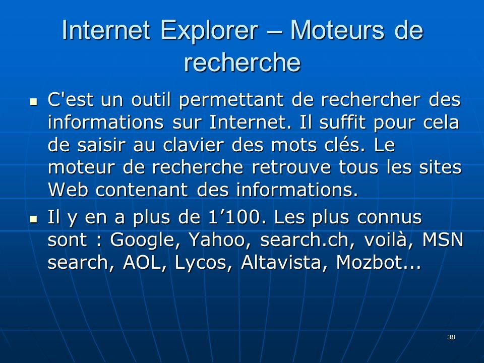 Internet Explorer – Moteurs de recherche