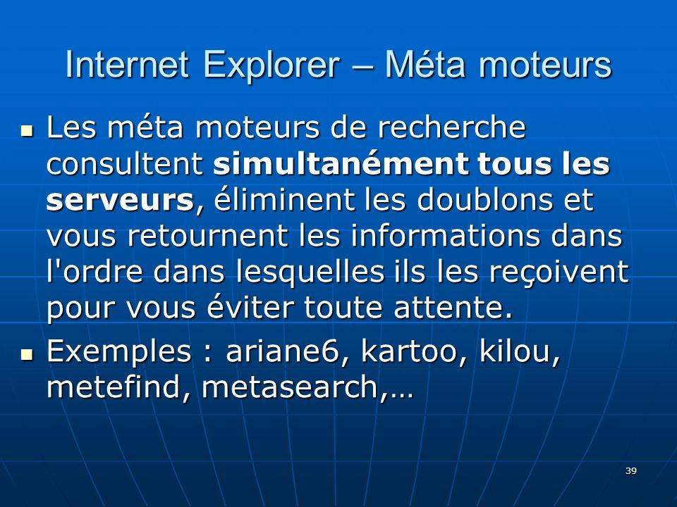 Internet Explorer – Méta moteurs