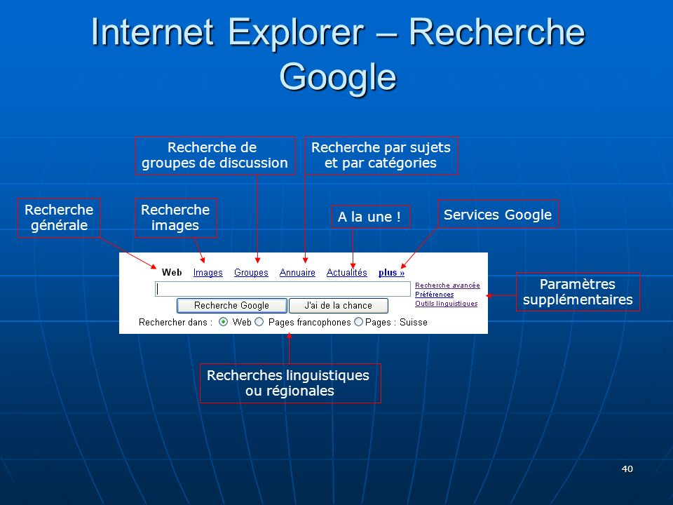 Internet Explorer – Recherche Google