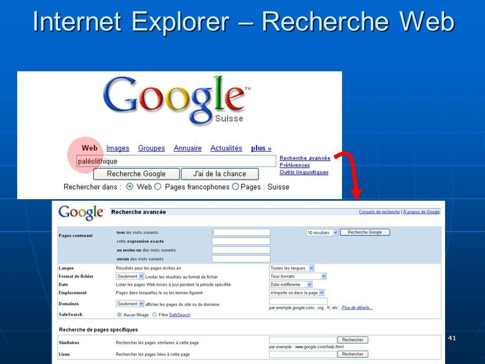 Internet Explorer – Recherche Web