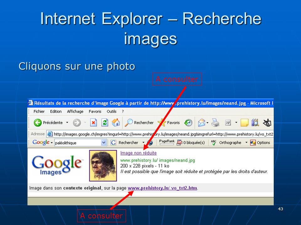 Internet Explorer – Recherche images