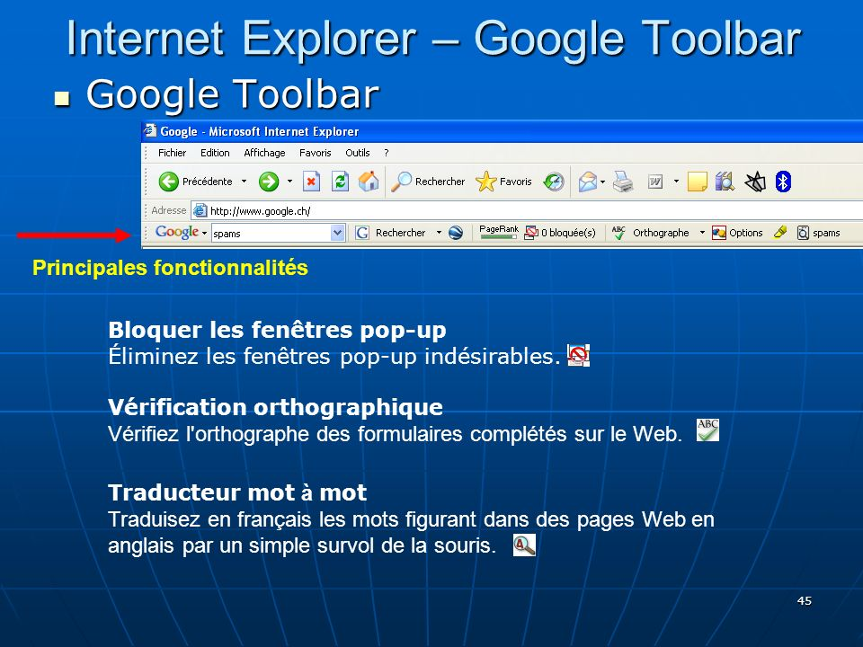 Internet Explorer – Google Toolbar