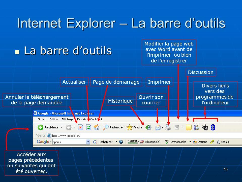 Internet Explorer – La barre d'outils