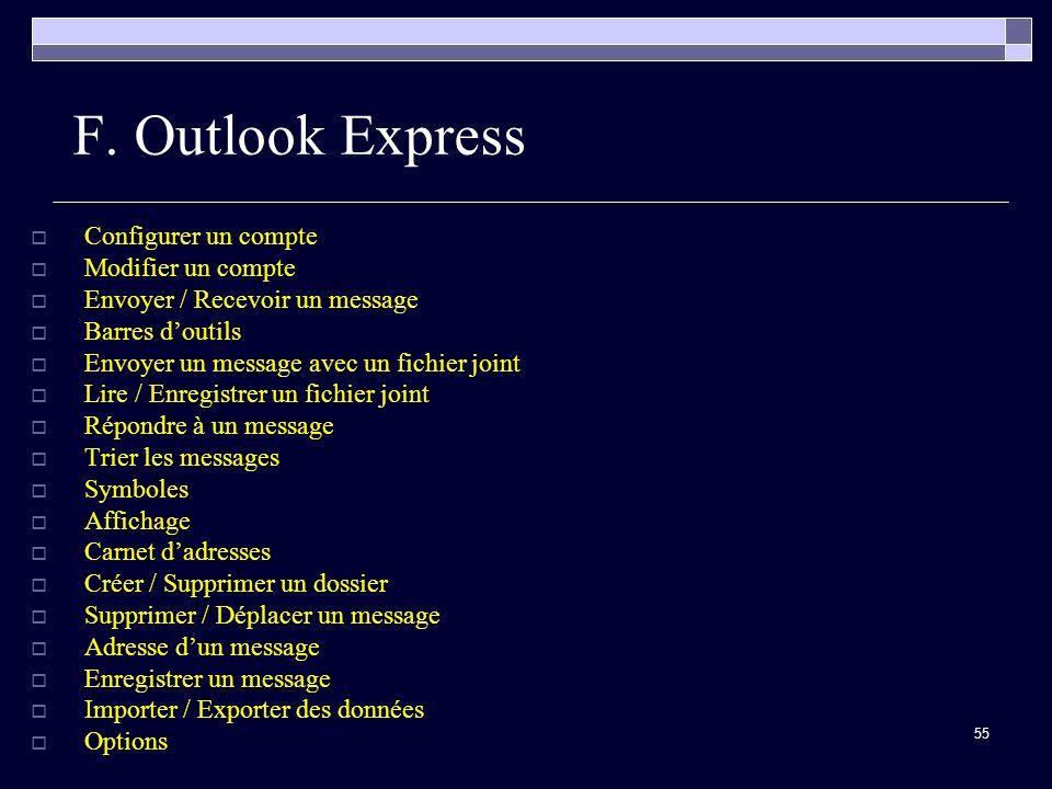 F. Outlook Express Configurer un compte Modifier un compte