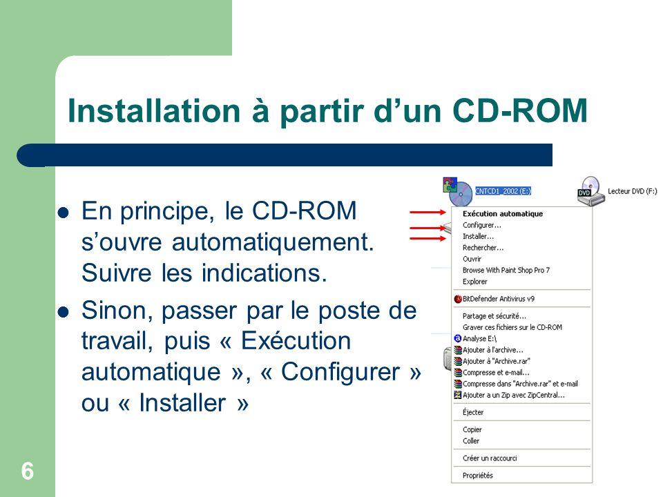 Installation à partir d'un CD-ROM