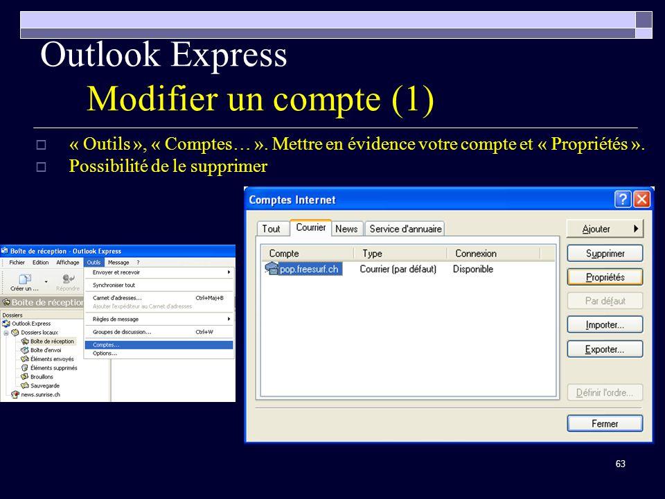 Outlook Express Modifier un compte (1)