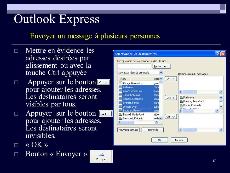 Outlook Express Envoyer un message à plusieurs personnes