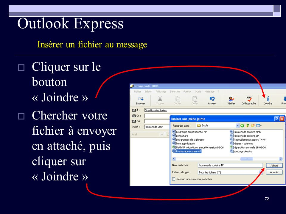 Outlook Express Insérer un fichier au message
