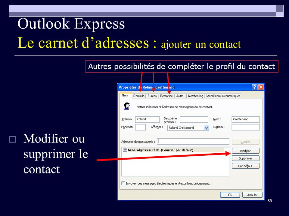 Outlook Express Le carnet d'adresses : ajouter un contact