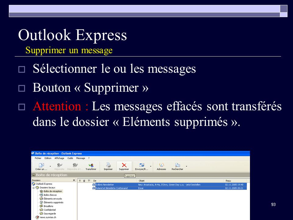 Outlook Express Supprimer un message