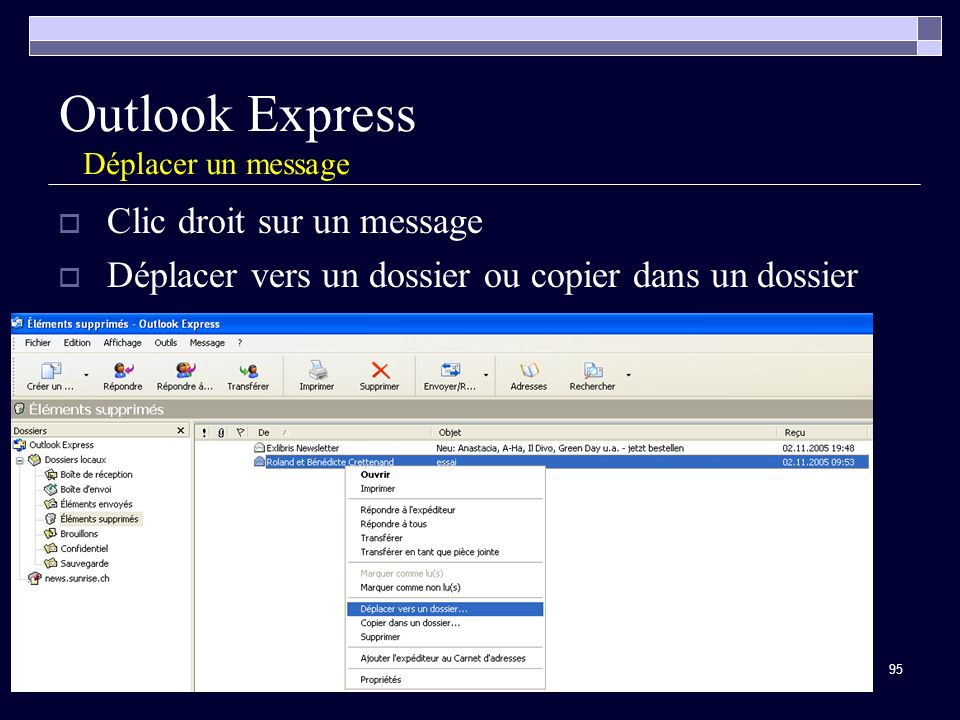 Outlook Express Déplacer un message