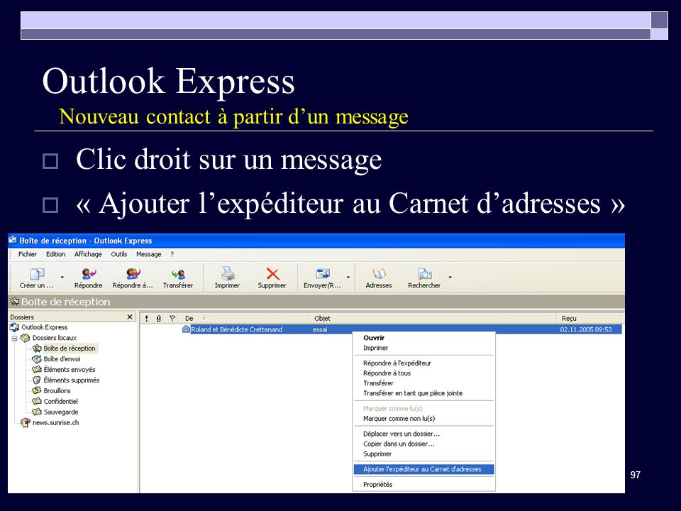 Outlook Express Nouveau contact à partir d'un message