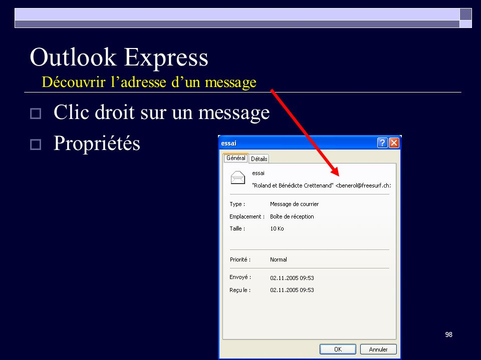 Outlook Express Découvrir l'adresse d'un message
