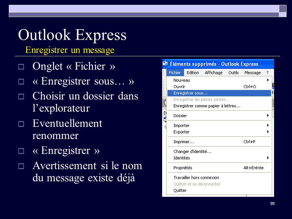 Outlook Express Enregistrer un message
