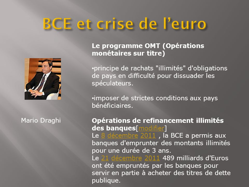 BCE et crise de l'euro Le programme OMT (Opérations monétaires sur titre)