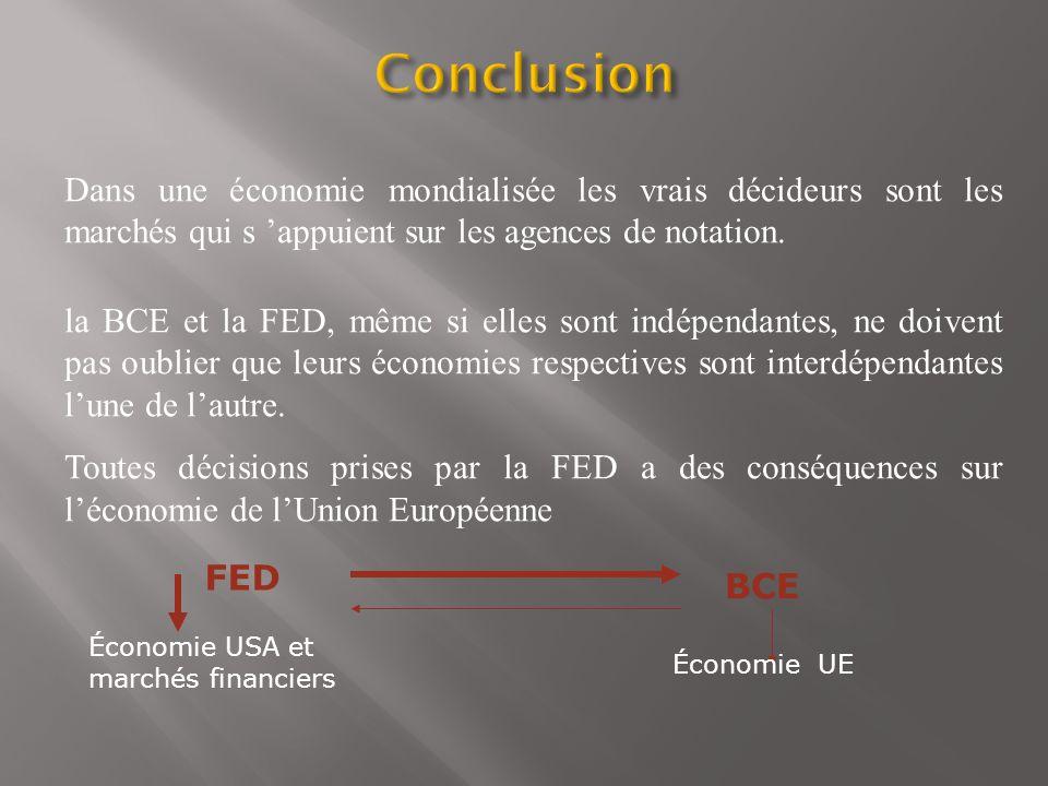 Conclusion Dans une économie mondialisée les vrais décideurs sont les marchés qui s 'appuient sur les agences de notation.