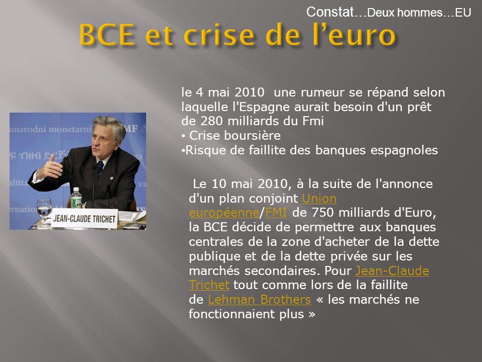 BCE et crise de l'euro Constat…Deux hommes…EU