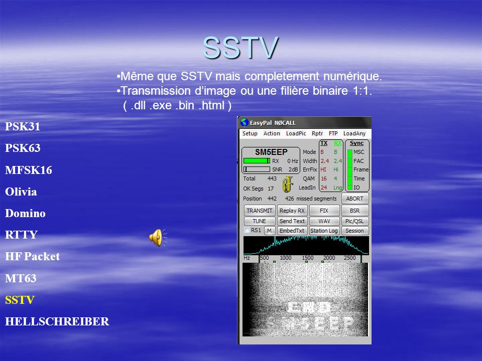 SSTV Même que SSTV mais completement numérique.