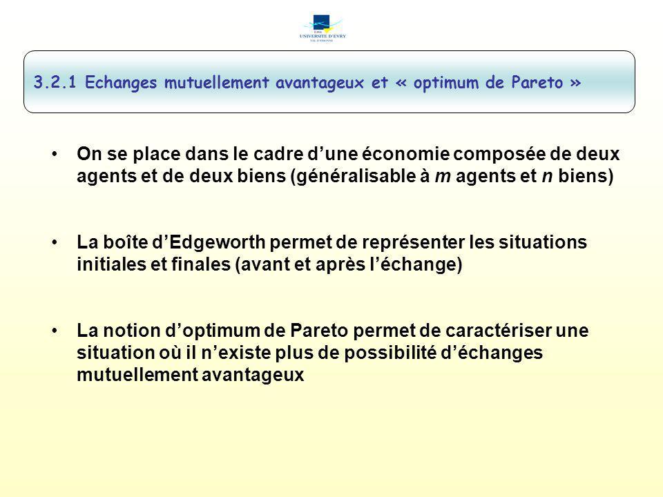 3.2.1 Echanges mutuellement avantageux et « optimum de Pareto »