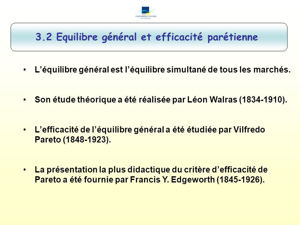 3.2 Equilibre général et efficacité parétienne