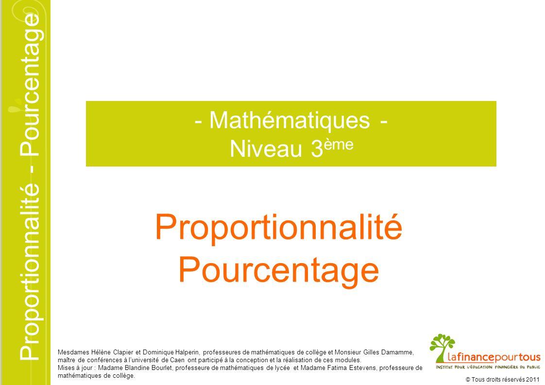 Proportionnalité Pourcentage - Mathématiques - Niveau 3ème