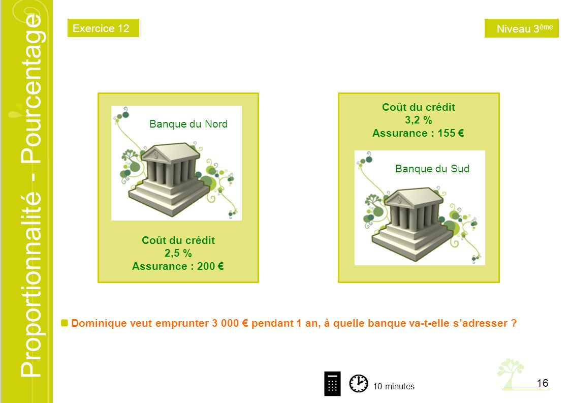 Exercice 12 Niveau 3ème Banque du Nord Coût du crédit 2,5 %