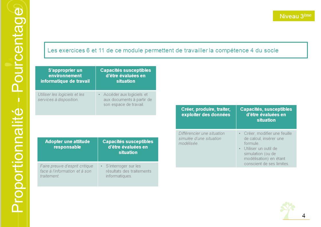 Niveau 3ème Les exercices 6 et 11 de ce module permettent de travailler la compétence 4 du socle.