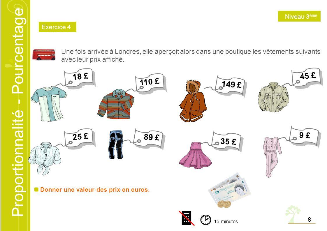 Niveau 3ème Exercice 4. Une fois arrivée à Londres, elle aperçoit alors dans une boutique les vêtements suivants avec leur prix affiché.