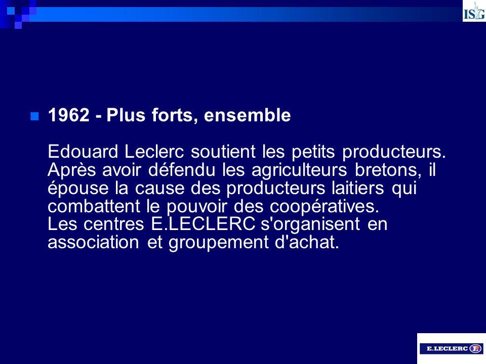 1962 - Plus forts, ensemble Edouard Leclerc soutient les petits producteurs.