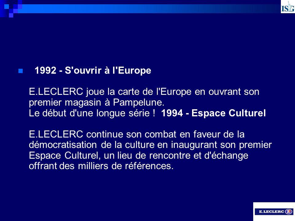 1992 - S ouvrir à l Europe E.LECLERC joue la carte de l Europe en ouvrant son premier magasin à Pampelune.