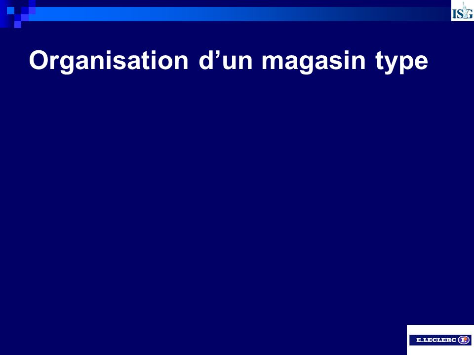 Organisation d'un magasin type