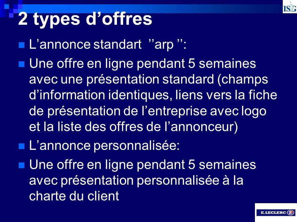 2 types d'offres L'annonce standart ''arp '':